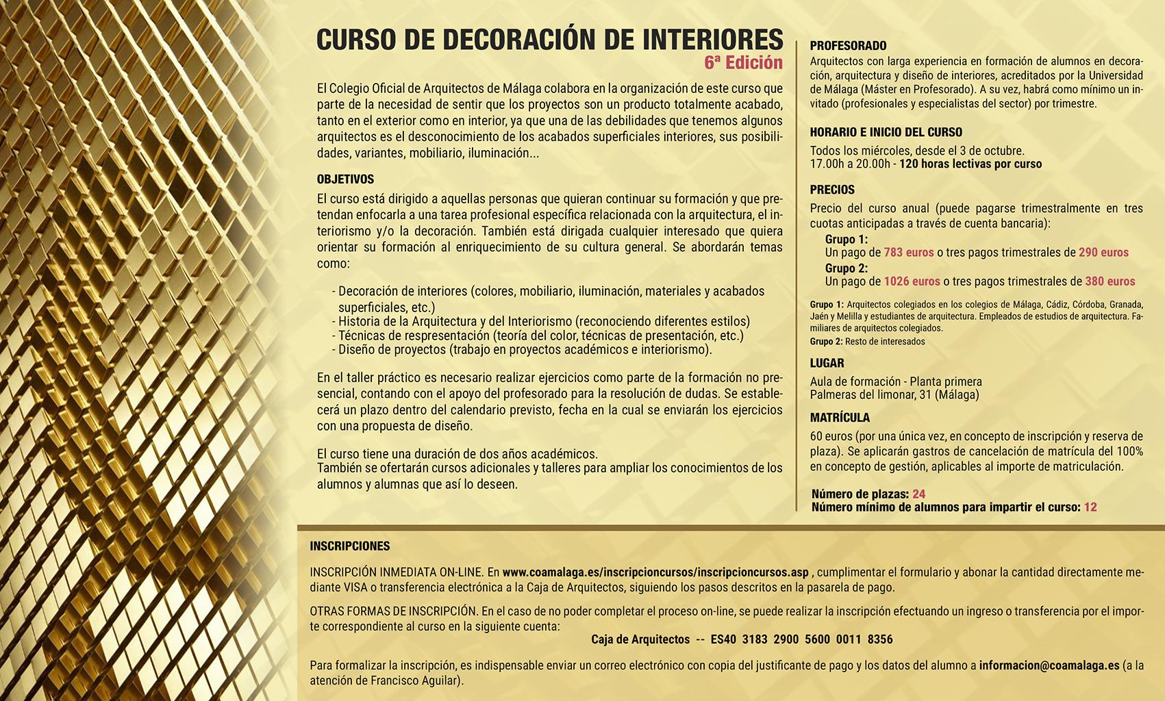 Curso Decoración De Interiores 6ª Edición Colegio